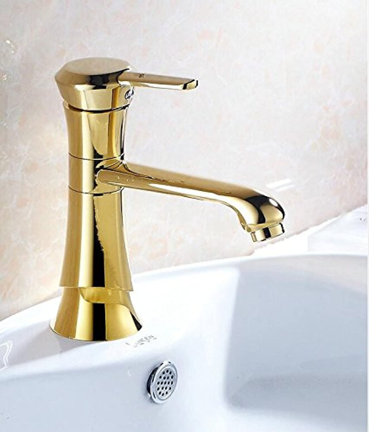 Makej New golden Finish Brass Single Hole Single Handle Hot and Cold Faucet Mixer Tap