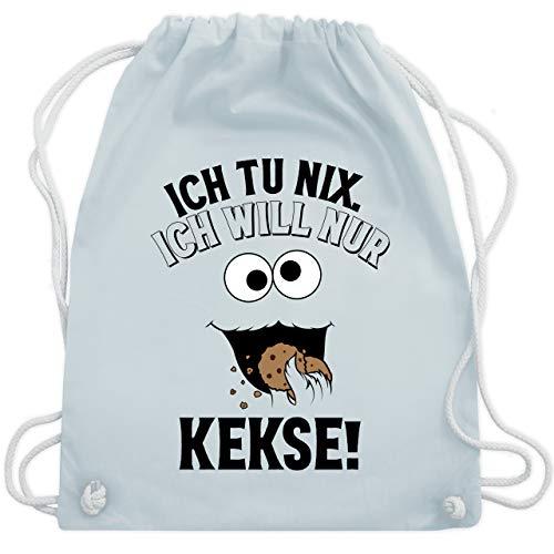 Shirtracer Karneval & Fasching - Ich tu nix. Ich will nur Kekse! - schwarz - Unisize - Pastell Blau - Keks - WM110 - Turnbeutel und Stoffbeutel aus Baumwolle