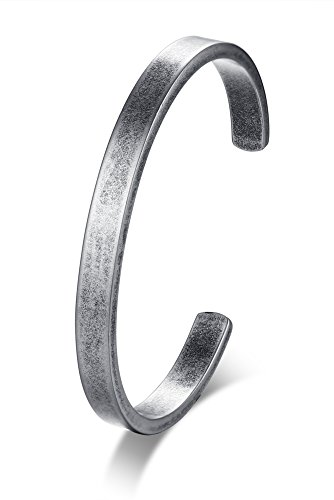 Stainless Steel Antique Retro Reminder Inspiration Message Quote Open Cuff Bangle Bracelets for Men Boy,65mm