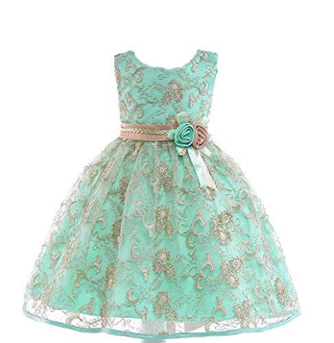 Haute Couture Kleid Mädchen Blumenstickerei Hollow Princess Kuchen Rock Party Party, Green_9-10_Years