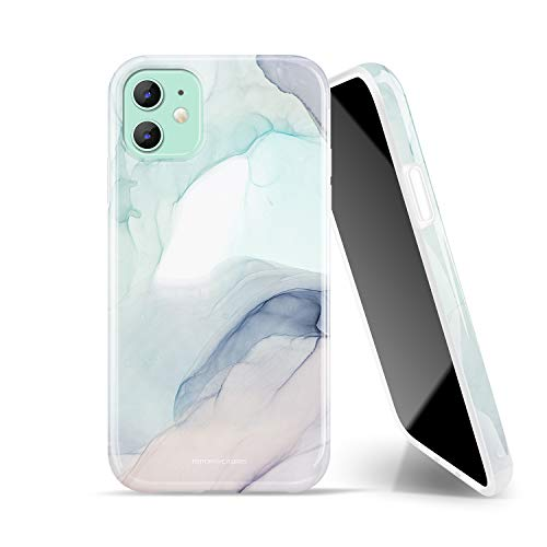 FENTORY C.P. Series Case for iPhone 11 6.1-inch, Soft Silicone Rubber Full-Body Protective Cover with HD Pattern Design (Marble/Green)
