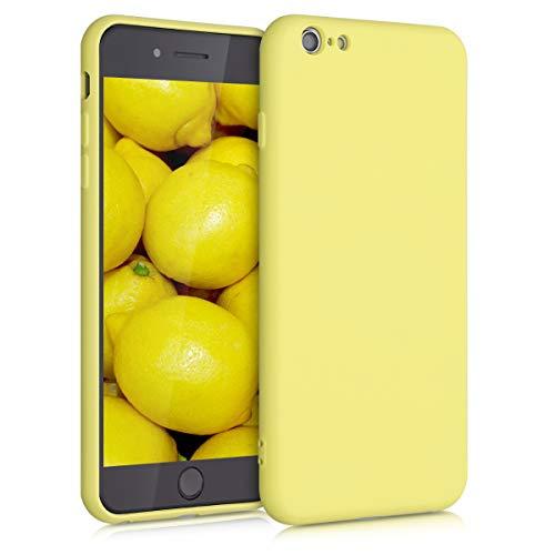 kwmobile Cover Compatibile con Apple iPhone 6 Plus / 6S Plus - Custodia in Silicone Effetto Gommato - Cover Back Case Protezione Cellulare - Giallo Chiaro Matt