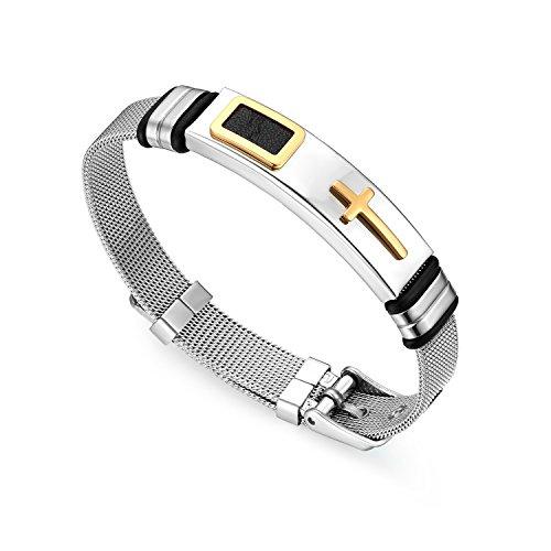 Cupimatch Kreuz Armband Herren Armkette Mesh Armreif Männer Handgelenk Schmuck Länge Verstellbar 17-21,5cm für Jungen, Gold