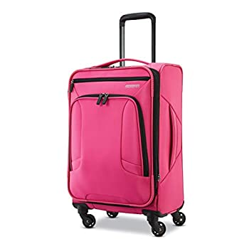 American Tourister 4 Kix Expandable Softside Luggage with Spinner Wheels Pink Carry-On 21-Inch