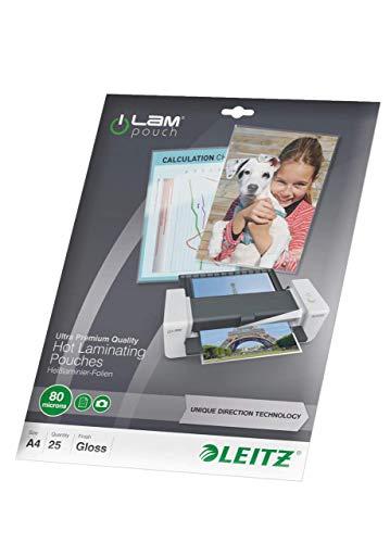 Leitz Heißlaminierfolien, Glänzend, transparent, A4, UDT, Folienstärke 80 mic, 25er Pack, 74790000