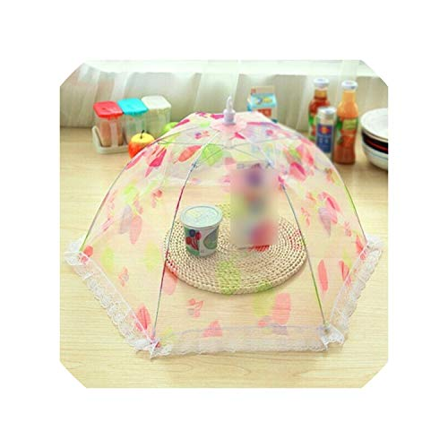 Round Umbrella Style Food Cover Printed Collapsible Pop Mesh Insect Anti Fly Mosquito Net Hexagon Gauze Outdoor BBQ Meal Table,AS SHOW