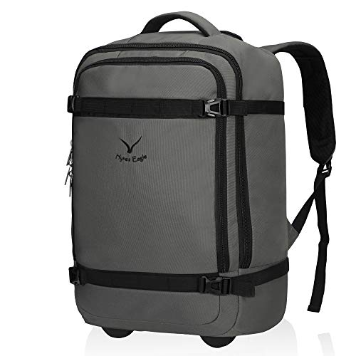 Hynes Eagle Carry on Trolley Backpack Flight Approved Bag Wheeled Hand Luggage 42L with Packing Cubes Grey