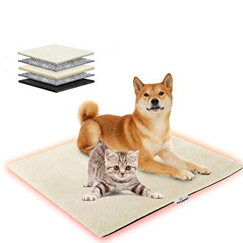 Focuspet Wärmedecke Katze, 70x50cm Katzendecke waschbar umweltfreundliche und selbstheizende Decke für Katzen, Hunde usw. Haustiere, Wärmematte Katze mit Anti-Rutsch Design, weiß