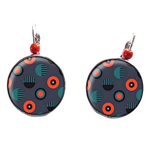 Pendientes de tuerca, color naranja y gris, cabujones de cristal, perlas mágicas, joyería de cristal cúpula hecha a mano