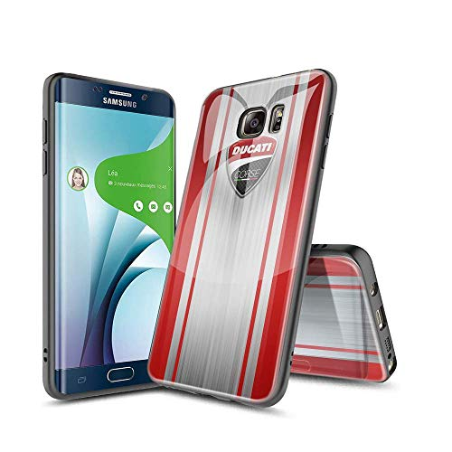 ShuTAO CC Samsung Galaxy S6 Edge Cover, Custodia Protettiva in Vetro Temperato 9H Back+ Cornice Paraurti in Silicone Morbido [Antiurto] per Samsung Galaxy S6 Edge #D 008
