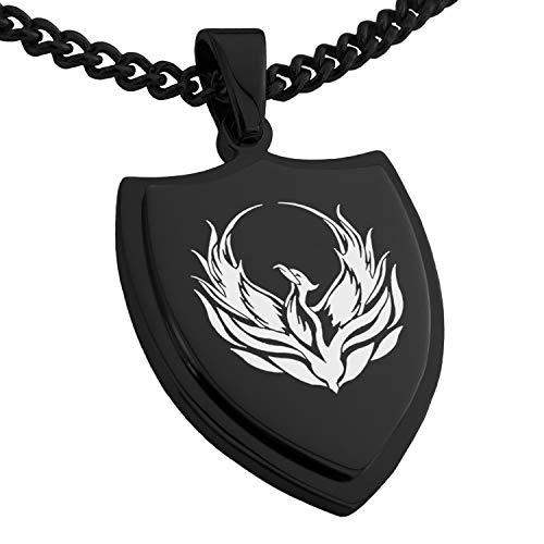 Tioneer Black Stainless Steel Greek Mythology Phoenix Shield Pendant Necklace