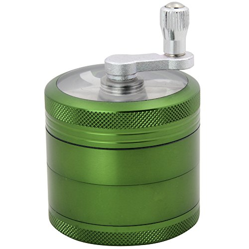DCOU Hand Cranked Premium Grinder Unbreakable Aluminum Grinder for Herb and Spice 4 Parts 2.2 Inch (Green)