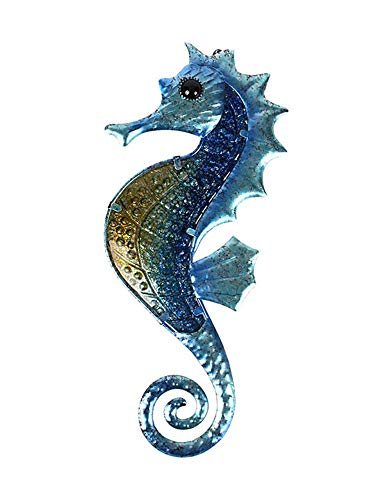 Liffy Seepferdchen Wanddekoration Outdoor Meer Metall Kunst hängend Deko Glas Skulptur blau blau