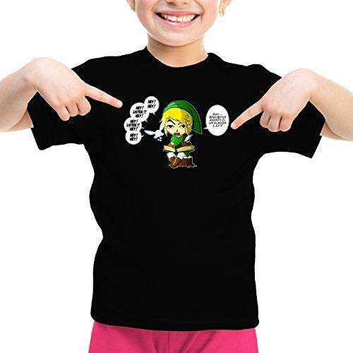 Okiwoki T-Shirt Enfant Fille Noir Zelda parodique Link et la Fée Navi : Une fée Pratique mais agaçante. (Parodie Zelda)