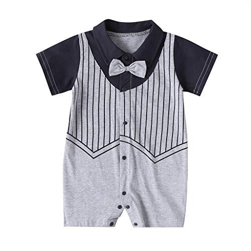 Little Gentlement Jumpsuit, Bow Stripe Manches Courtes Polo Barboteuse bébé garçon Costumes d'été Tenues vêtements