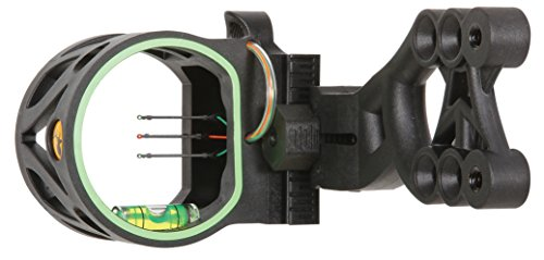 Trophy Ridge Mist Sight with Green Hood Accent for Quicker Sight Acquisition and Reversible Mount Design for Use with Left and Right-hand Bows , Black