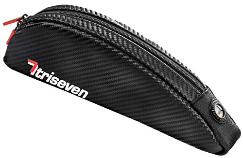 TriSeven Aero 30 Medium Carbon Cycling Frame Bag - Lightweight Storage for Triathlons & MTB | Holds Large Cell Phones, Wallets, 10 Gels, Pump, Tools and More!