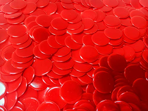 Plastic Bingo Chips 150 Count | Solid Red Counting Chips | 3/4 Inch