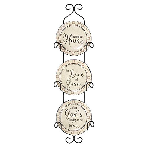Dicksons We Open Our Home Ceramic Mini Wall Plates with Metal Display Rack, Set of 3