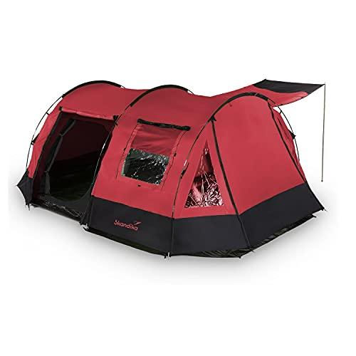 skandika Kambo Tunnelzelt für 4 Personen | Zelt mit Schlafkabine für 4 Mann, Wasserdicht mit 3000 Wassersäule, 3 Eingänge, Sonnendach, Vorzelt | Campingzelt in rot