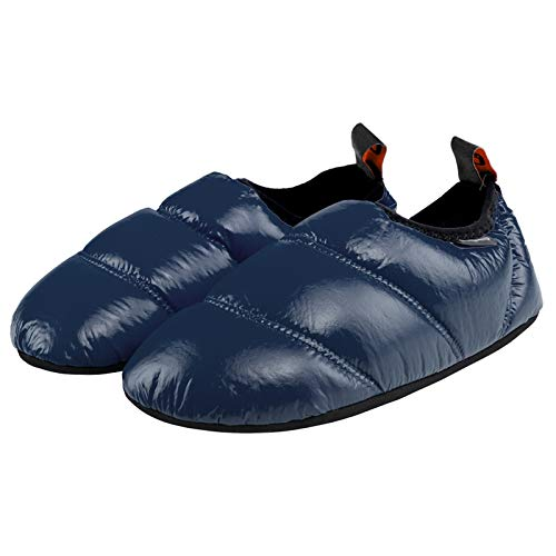 KingCamp Unisex Warm Soft Slippers with Slip Resistant Rubber Sole and Carry Bag (7-7.5, Navy)