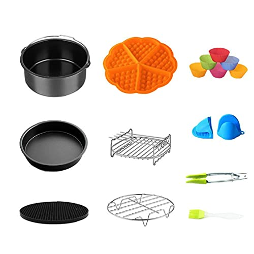 Air Fryer Zubehör-Set mit Backblech Pizza Pan Grill stehen Non-Stick Coaster Lebensmittel Tongs für 7In Backen 10PCS