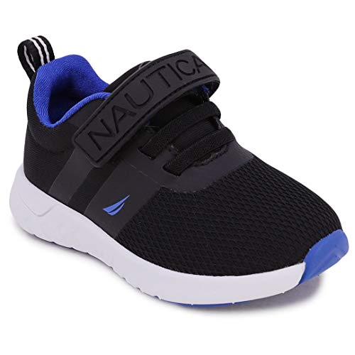 Nautica Kids Boys Fashion Sneaker Athletic Running Shoe with Stap for Toddler and Little Kids-Towhee 2 Saga-Black Mesh Neo-6