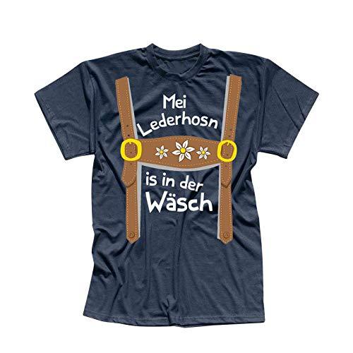 T-Shirt Oktoberfest Lederhose Kostüm Volksfest Tracht 13 Farben Herren XS-5XL München Wiesn Festzelt O'zapft Maß Krug Dirndel, Größe:3XL, Farbe:Navy - Logo Weiss