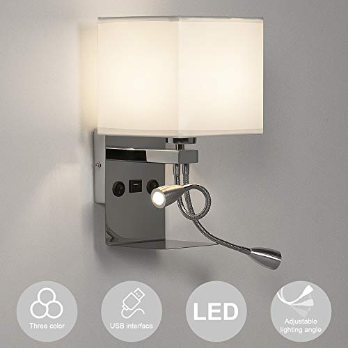 LEDMO Lampada da comodino, Applique camera da letto e27 dimmerabile, Lampada da parete 2 in 1 con interfaccia USB e lampada da lettura a LED flessibile