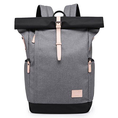 YFbear Roll-Top Rucksack – Hochwertiger Wasserfester Backpack mit Rollverschluss – Praktischer Daypack,Uni-Schulrucksack, Laptoptasche oder Fahrradtasche für Damen und Herren (Grau-B)