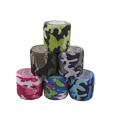 Houdao 6 rollos de vendaje autoadhesivo para perros y caballos, vendajes cohesivos 5 m para dedos, muñeca, rodilla, tobillo y protección deportiva
