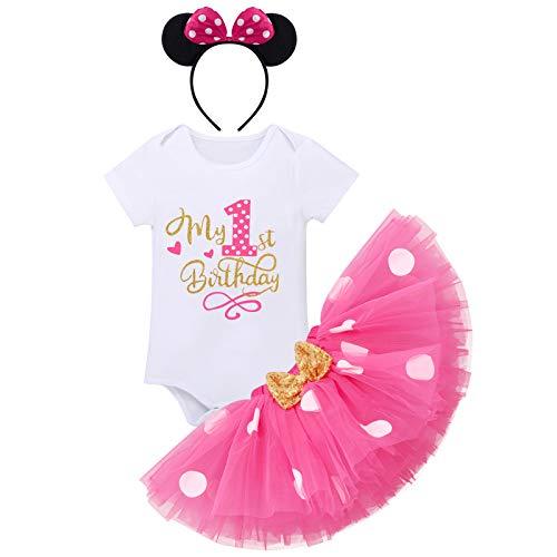 FYMNSI - Conjunto de ropa para bebé y niña, primera infancia, disfraz ratón, algodón, manga corta, body + falda tul con lunares diadema la oreja, 3 piezas Rosa el primer cumpleaños. 1 Año