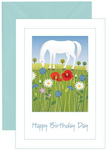 Witte Paard Verjaardagskaart - met bijpassende blauwe envelop - 032