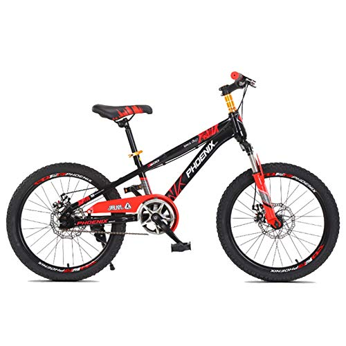 FUFU Children's Mountain Bike 18/20 Inch Single Speed Male and Female Student Bicycle Youth Bicycle front fork Shock Absorption (Color : Red, Size : 18in)