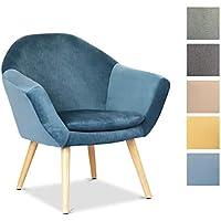 Mc Haus NAVIAN - Sillón Nórdico Escandinavo de color Azul Perla, butaca comedor salón dormitorio, sillón acolchado con Reposabrazaos y patas de madera 74x64x76 cm