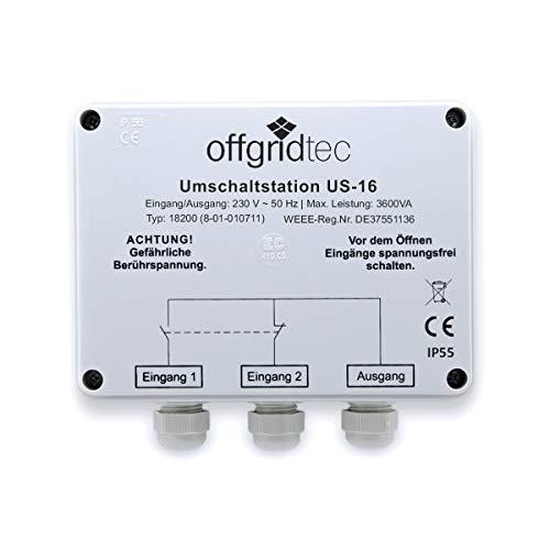 Offgridtec® Umschaltstation für Netzvorrangschaltung USV Betrieb US-16 230V 16A 3600W
