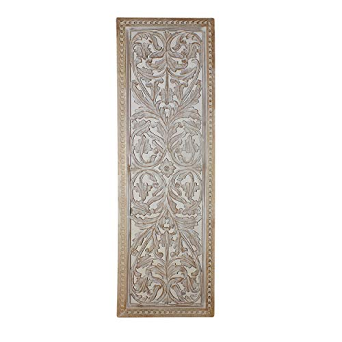 Benzara BM01909 Attractive Mango Wood Wall Panel Hand Crafted with Intricate Details, White