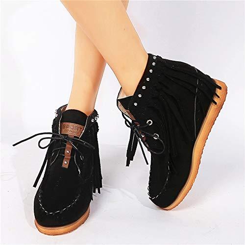 Botas cortas de tobillo con borlas y puntera redonda con cordones para mujer, A1, 36 EU