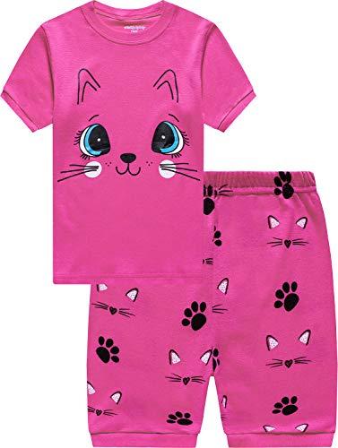 EULLA Sommer Zweiteiliger Schlafanzug für Mädchen T-Shirt Kurz Ärmel Nachtwäsche Baumwolle, 01-rosa, Gr.- 92 (Herstellergröße: 90)