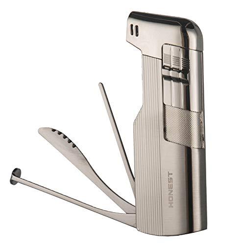 Feuerzeuge Pfeifenfeuerzeug Gas Butan Nachfüllbar mit Integriertem Pfeifen-Besteck Geschenkbox (Silber D)