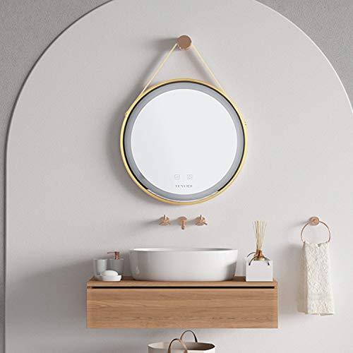 LUVODI 50 x 50 cm Espejo de Baño Redondo con Iluminación LED Espejo de Baño de Pared con Marco de Aluminio Dorado con Función Anti-vaho y con Interruptor Táctil para Cuarto de Baño y Dormitorio