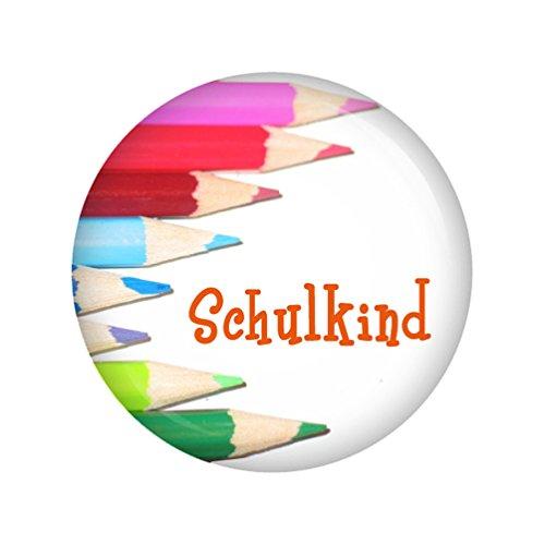Kiwikatze® Schule - Buntstifte - Schulkind 37mm Button Ansteckbutton für Schulanfang Schulkind