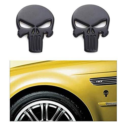2-Pack Skeleton Skull Logo Emblem Badge 3D Punisher Metal Decals Stickers Decoration Cars,Trucks,Motorcycle(Black)