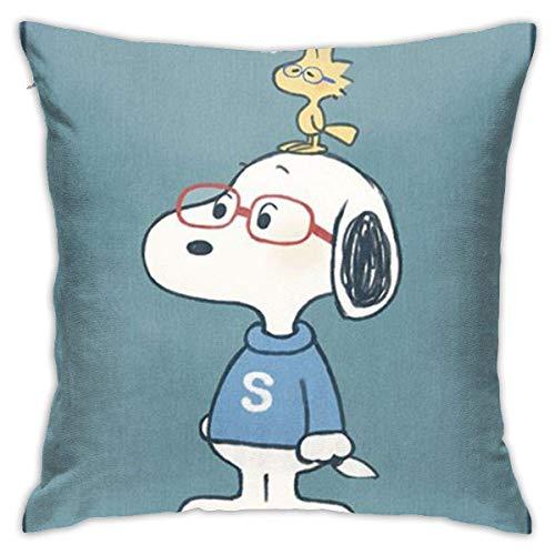 Funda De Almohada para Cojín S-Noopy con Gafas Funda Decorativa para Cojín Suave Fundas De Almohada Decorativa Throw Pillow Case para Sofá Oficina Cama 45X45Cm