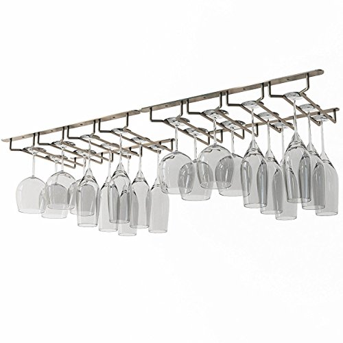 Wallniture Under Cabinet Stemware Glass Hanger Rack Kitchen or Bar Storage Oil Rubbed 10 Inch Deep...