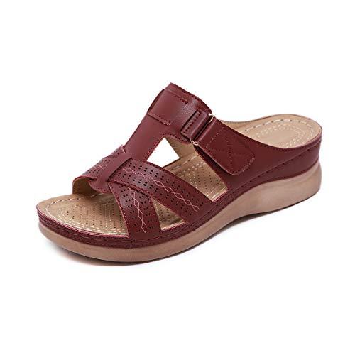 AONEGOLD Sandalen Damen Sommerschuhe Mädchen Strandsandalen Keilabsatz Sandalette Zehentrenner Pantoletten Flip Flops(Dunkelrot,40 EU)