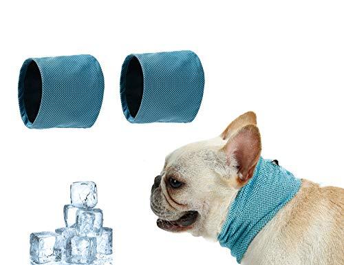 Tineer Pet Cooling Bandana Dog Cat Bufanda Transpirable Bulldog Summer Ice Enfriamiento instantáneo Toalla Envoltura de Cuello Collares para Cachorros Gatitos (Paquete de 2) (S (35 * 11cm))