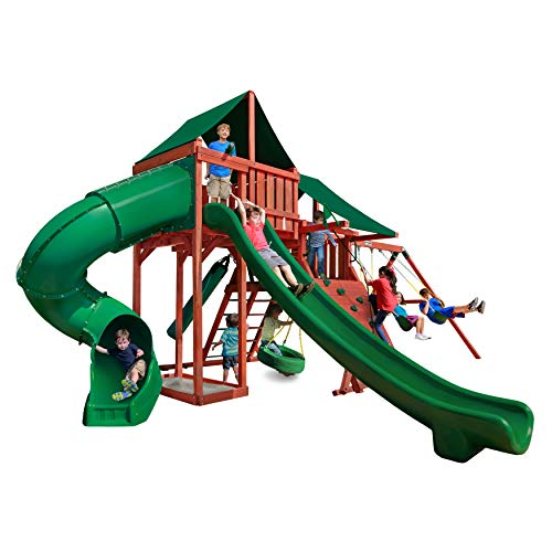 Gorilla Playsets 01-0042-2 Sun Climber Deluxe Wooden Swing Set with Two Slides, Multiple Play Decks, Climbers, Swings and Sunbrella Forest Green Canvas Canopy Roof