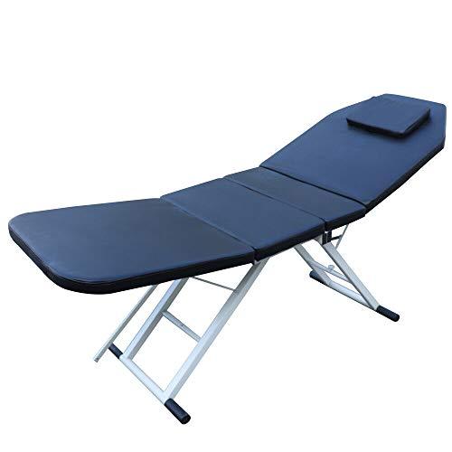 Camilla de masaje Cosmética de 3 secciones, cama de masaje plegable, 182 x 60 x 70 cm, profesional, mesa cosmética, spa, salón, cama de belleza, ligera y sólida, patas de aluminio, color negro