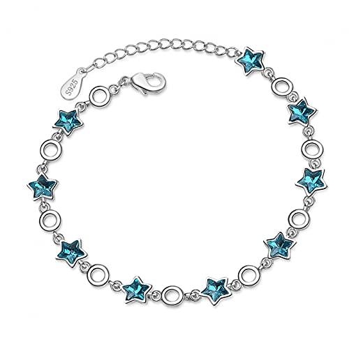WLLLTY Pulsera Mujer, Pulseras de Cristal de Cadena Ajustable, Pulseras y Brazalete con Dije de Estrella de Plata de Ley 925 para Mujeres y niñas, joyería de Boda